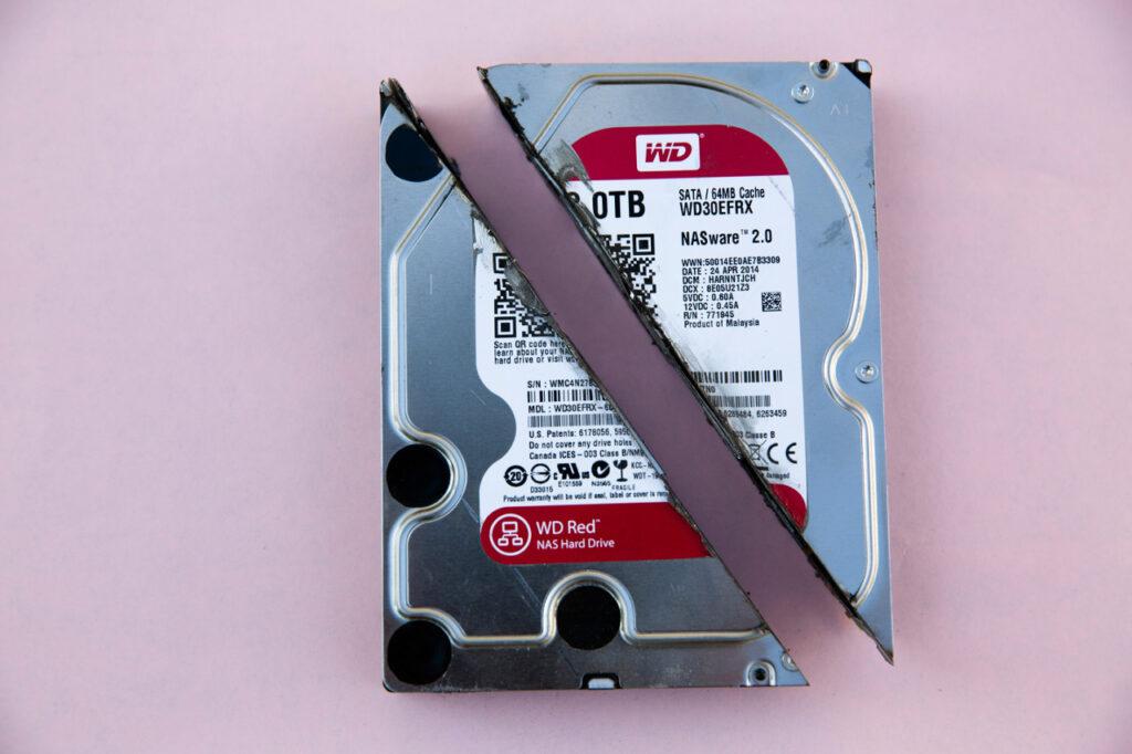 Eine HDD-Festplatte wurde zerteilt